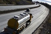 fuel-truck, tanker truck on the move, elevated view of highway