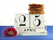 White Shabby Chic Vintage Style Block Calendar For Anzac Day, April 25, With Traditional Anzac Biscu