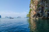 stock photo of james bond island  - Tourist Boat at James Bond island in Phuket Thailand - JPG