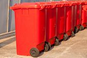 foto of garbage bin  - Close up large trash cans  - JPG