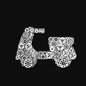 Abstract Gears In Motorcycle Shape, Black And White