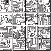 Abstract Computer Electronics Circuit Board Pattern - Vector Seamless Texture