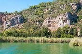 picture of dalyan  - Turkish Lycian tombs on the Dalyan River - JPG