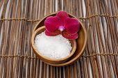 bath salt and red orchid for aromatherapy