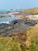 Godrevy Cornwall coast England UK facing the Atlantic Ocean and po