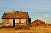 Old Farmhouse and Red Barn