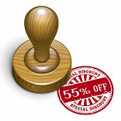 55 Percent Off Grunge Rubber Stamp