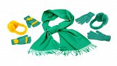Styling a green scarf with different accessories.