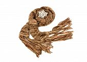 Long brown winter scarf with fringe.