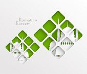 Vector Muslim Paper Graphics. Translation: Ramadan Kareem - May Generosity Bless You During The Holy