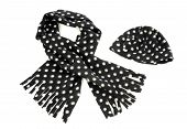 Black with white dots scarf and hat.