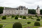 stock photo of poitiers  - Garden and Castle of Chenonceau - JPG