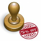 5 Percent Off Grunge Rubber Stamp