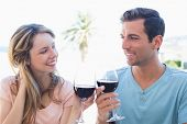 Portrait of a loving young couple toasting wine glasses