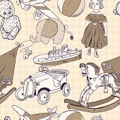 Toys sketch seamless pattern