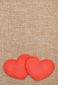 Felt Red Hearts On The Burlap