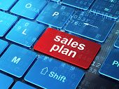 Marketing concept: Sales Plan on computer keyboard background