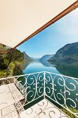 beautiful landscape, lake view from the balcony of a penthouse