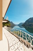 beautiful landscape, lake view from the terrace of a penthouse