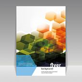 Flyer or Cover Design with Abstract Hexagon Pattern