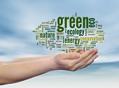 Concept or conceptual abstract green ecology, conservation word cloud text in man hand, blue sky bac