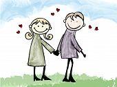 Happy Lover Couple Dating Cartoon Illustration