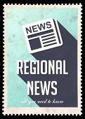 Regional News on Blue in Flat Design.