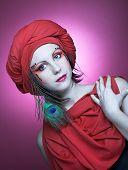 Woman in red turban