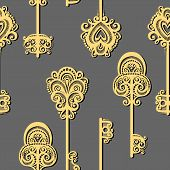 Seamless Ornate Pattern with Keys