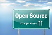picture of open-source  - Highway Signpost image with Open Source wording - JPG