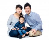 Asian family with baby daughter