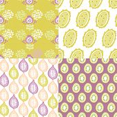 Seamless exotic fruit and retro garden illustration background pattern in vector