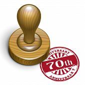 70Th Anniversary Grunge Rubber Stamp