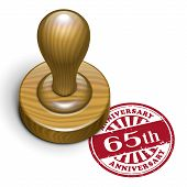 65Th Anniversary Grunge Rubber Stamp