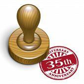 35Th Anniversary Grunge Rubber Stamp