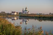 Church of Ilya prophet on Ivan grief in Suzdal. Evening landscape. Golden Ring of Russia.
