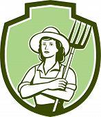 Female Organic Farmer Pitchfork Shield Retro