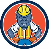 Angry Gorilla Construction Worker Circle Cartoon