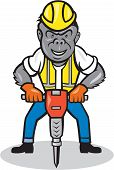 Gorilla Construction Jackhammer Cartoon