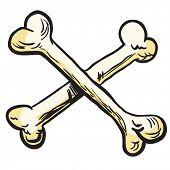 crossed bones cartoon illustration