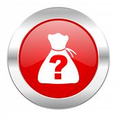 riddle red circle chrome web icon isolated