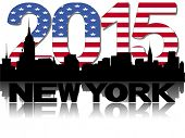 New York skyline 2015 flag text vector illustration