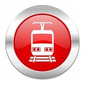 train red circle chrome web icon isolated