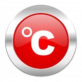 celsius red circle chrome web icon isolated