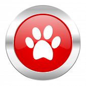 foot red circle chrome web icon isolated