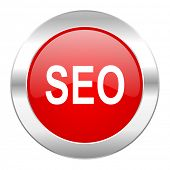 seo red circle chrome web icon isolated
