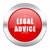 legal advice red circle chrome web icon isolated