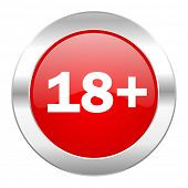 adults red circle chrome web icon isolated