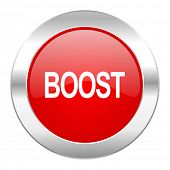boost red circle chrome web icon isolated