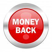 money back red circle chrome web icon isolated